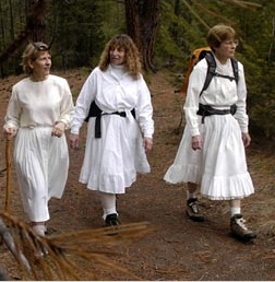 Ladies in White, from the left, Catherine Goodman, Pat Cross-Chamberlin and Fran Coover, in the Rattlesnake Wilderness in Montana.