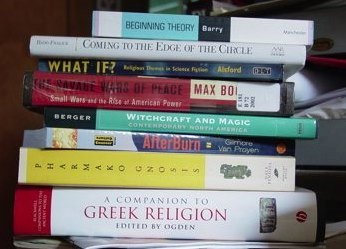 The stack of books that I am reading.