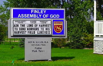 Church sign in Finley, North Dakota. Photo by Chas S. Clifton